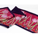 Pink agapanthus silk table runner/ bed shawl