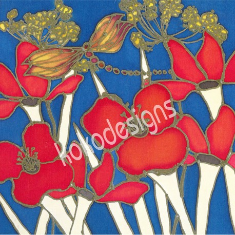 Night poppies greetings card
