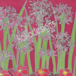 Pink agapanthus greetings card