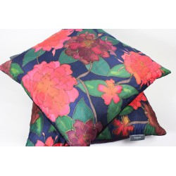 Rhododendron silk hand-painted cushion