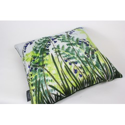 Ferns and Bluebells silk hand-painted cushion