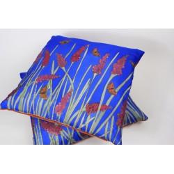 Tortoiseshell Garden silk hand-painted cushion