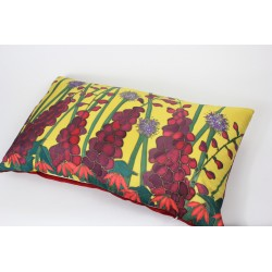 Yellow Garden silk hand-painted cushion