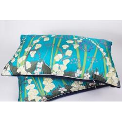 White Foxglove silk hand-painted cushion