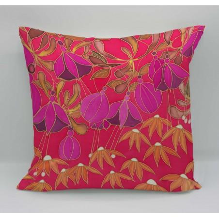 Dusky Hedgerow cotton print cushion