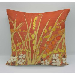 Crocosmia cotton print cushion