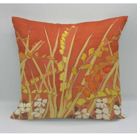 Crocosmia cotton print cushion