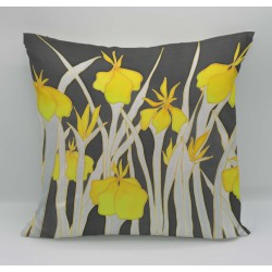 Yellow Iris cotton print cushion