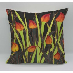 Tulips cotton print cushion
