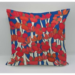 Night Poppy cotton print cushion