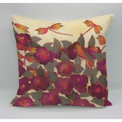 Peony cotton print cushion