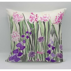 Cream garden cotton print cushion