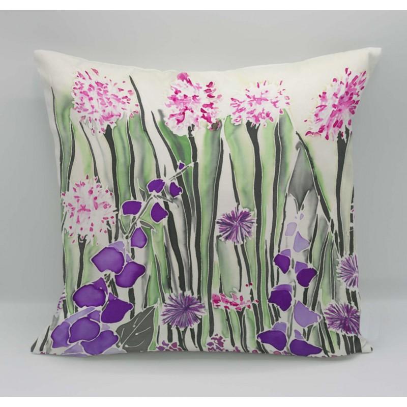 Cream garden cotton print cushion