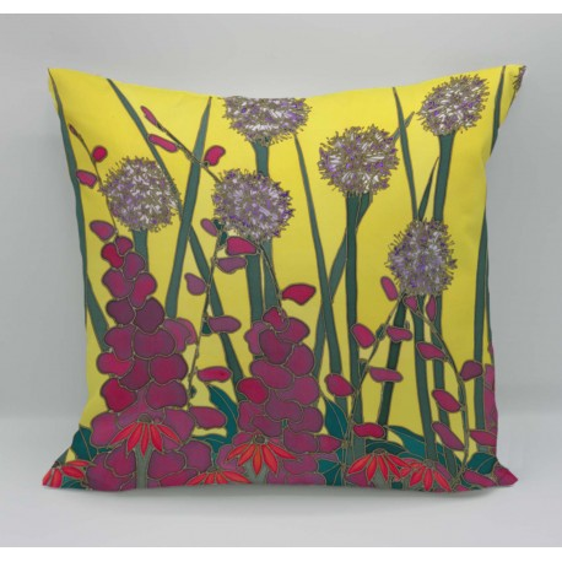 Pink agapanthus cotton print cushion