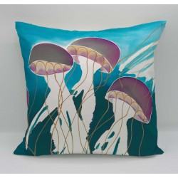 Jellyfish cotton print cushion