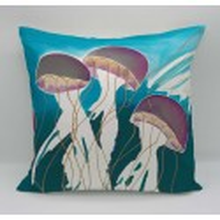 Jellyfish cotton print cushion
