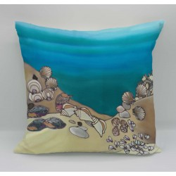 Seashells cotton print cushion