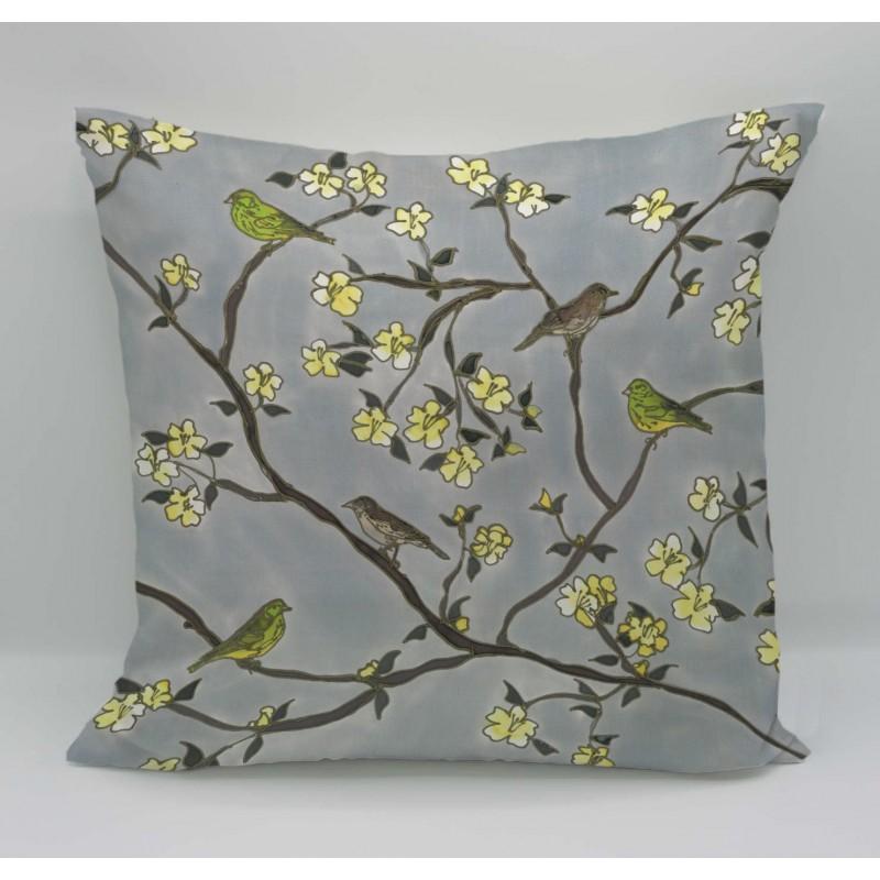 Around the garden cotton print cushion