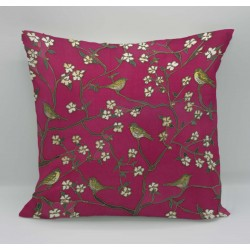 Listen in the garden cotton print cushion