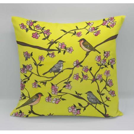 Birds cotton print cushion
