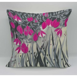 Fuchsia cotton print cushion