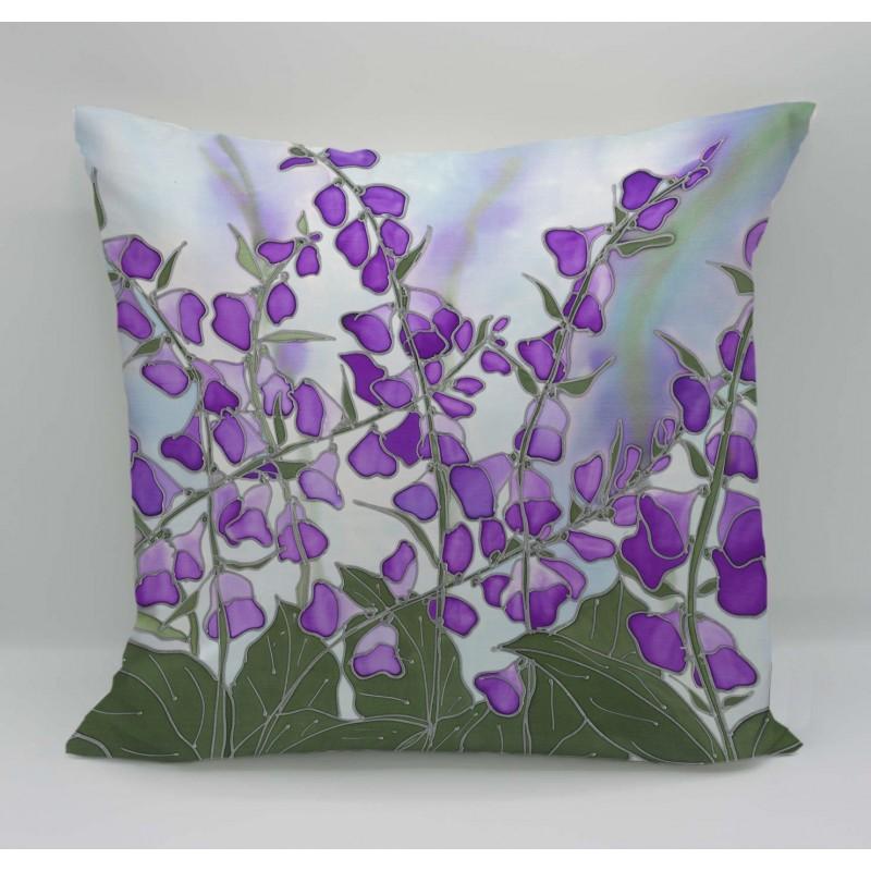 Foxglove cotton print cushion