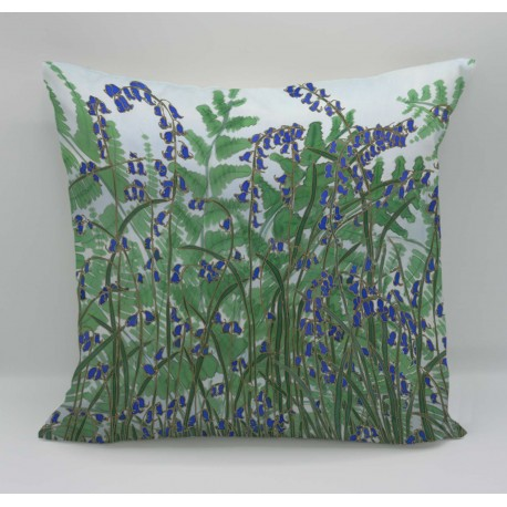Ferns and bluebells cotton print cushion