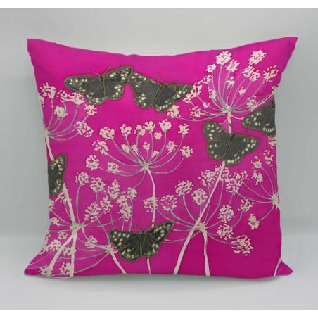 Speckled garden cotton print cushion
