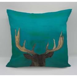 Stag cotton print cushion