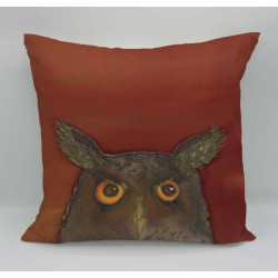 Owl cotton print cushion