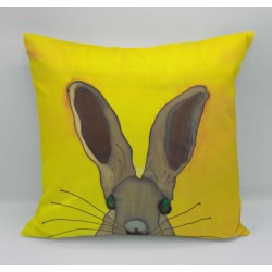 Hare cotton print cushion