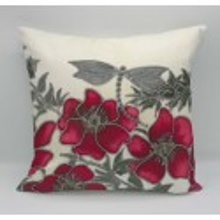 Red dragon cotton print cushion