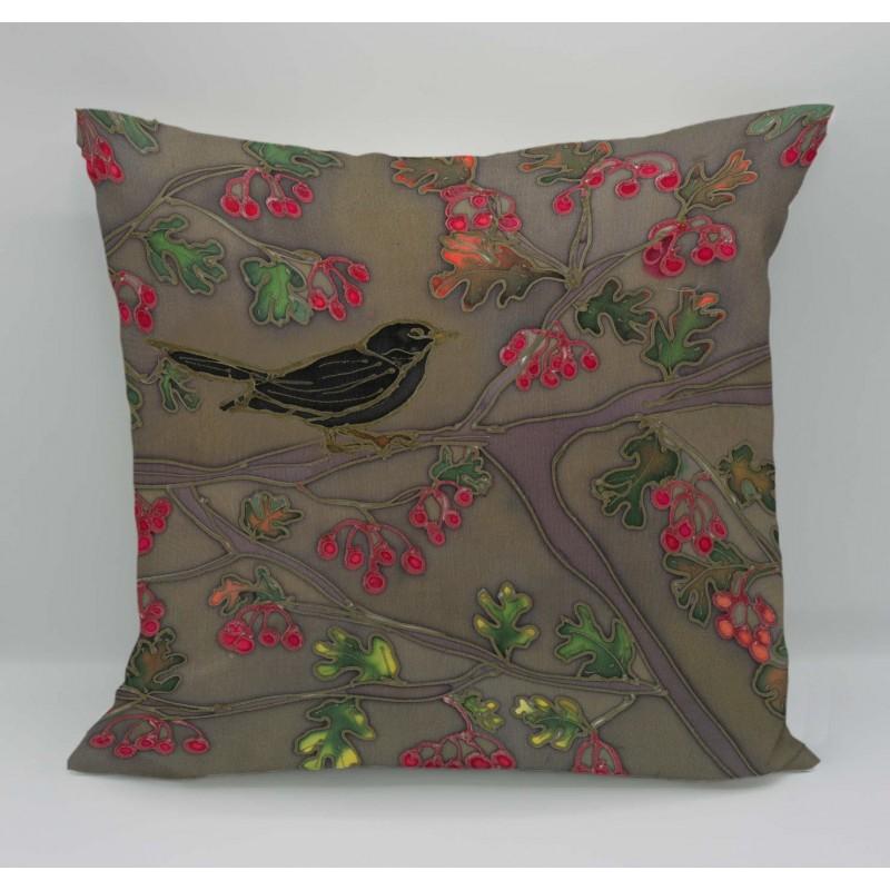 Autumn garden cotton print cushion