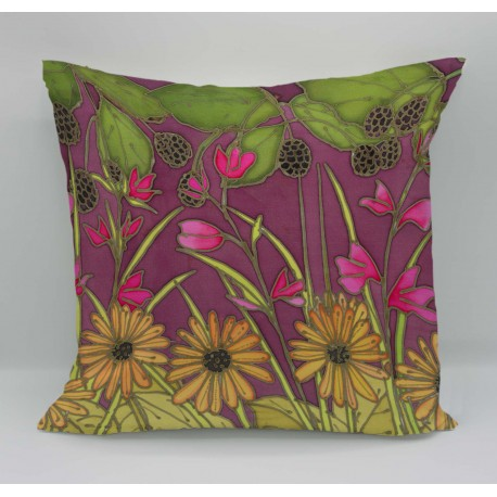 Autumn hedgerow cotton print cushion