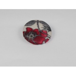 Red Dragon Bamboo Print Button
