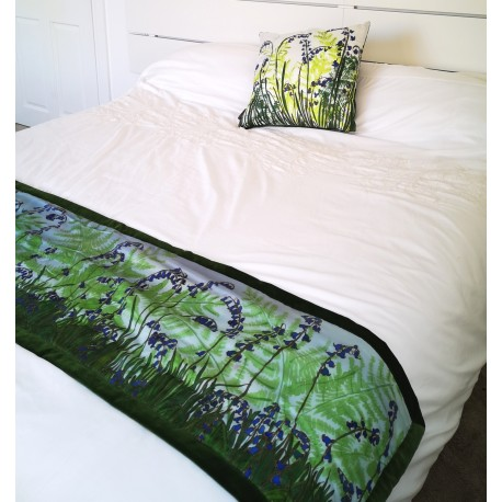 Ferns and bluebells silk table runner/ bed shawl
