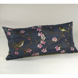 Out of the garden silk cushion