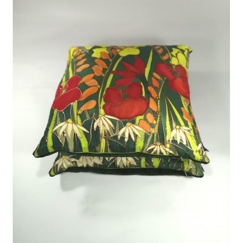 Hedgerow silk cushion