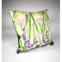 Cream garden silk cushion