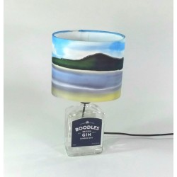 Seaside Gin bottle table lamp and silk shade