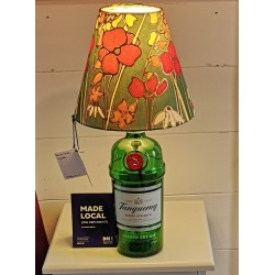 Hedgerow Gin bottle table lamp and silk shade