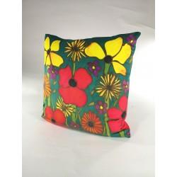 Summer Meadow velvet print cushion