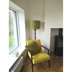 yellow garden silk floor drum shade
