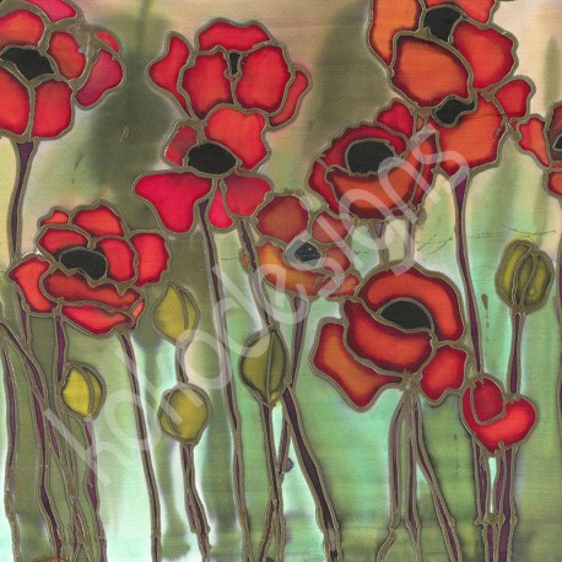 Wild Poppies bamboo print