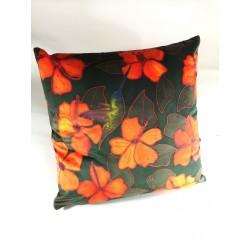 Hummingbird velvet print cushion