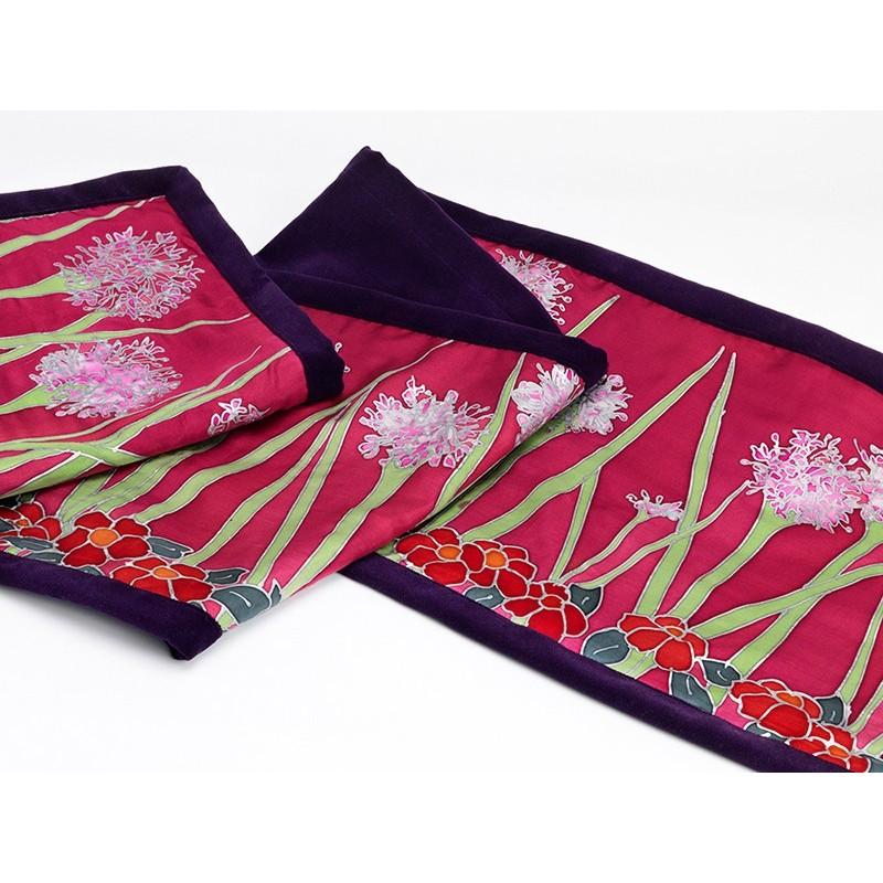 Pink agapanthus silk table runner/ bed shawl