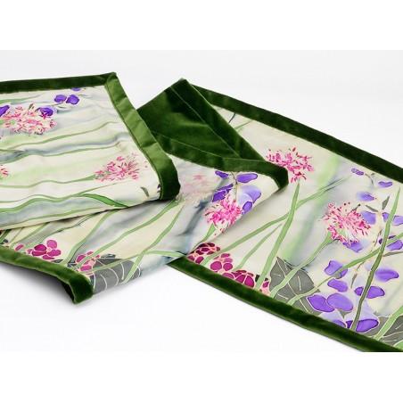Cream garden silk table runner/ bed shawl