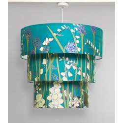 White foxglove silk tiered ceiling light