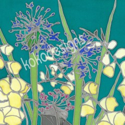 White foxglove bamboo print