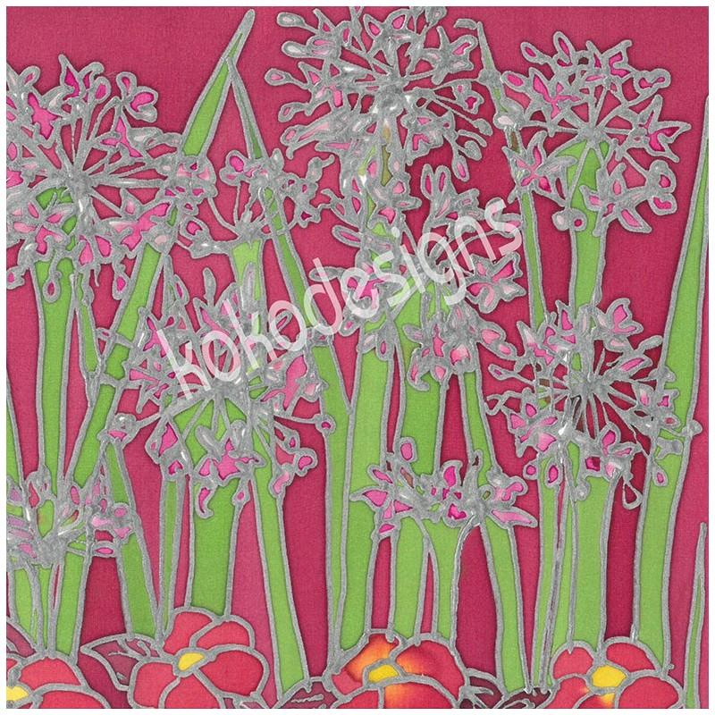 Pink agapanthus bamboo print